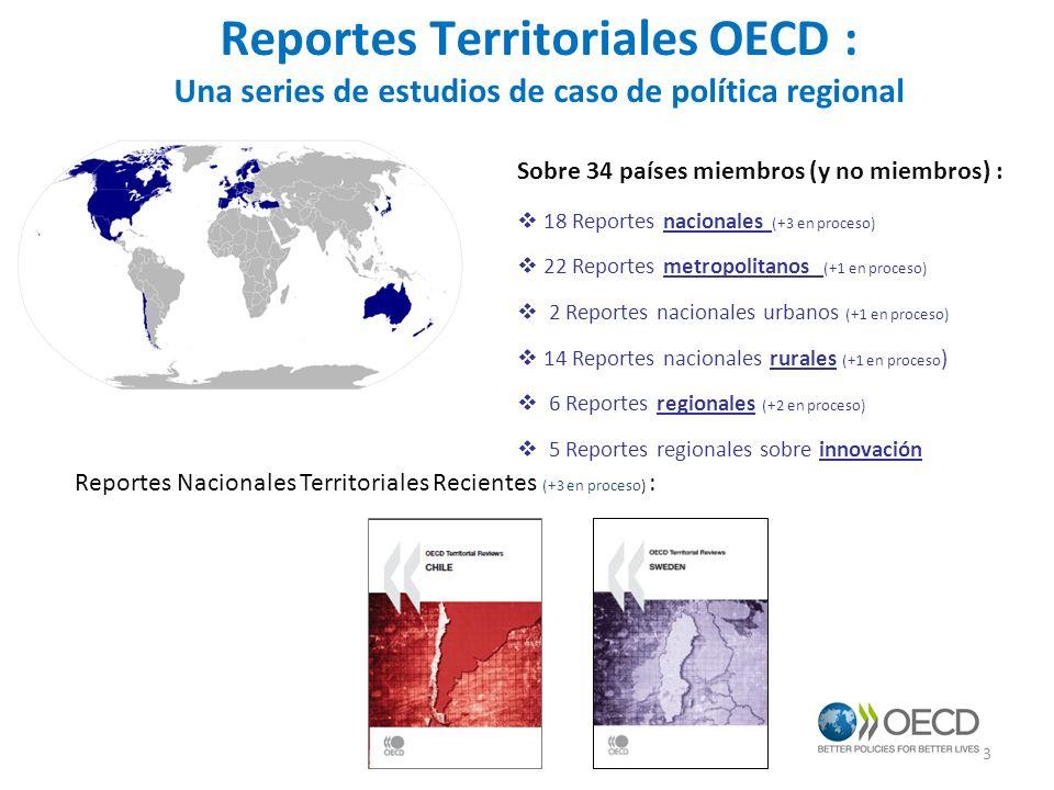 Reportes Territoriales OECD : Una series de estudios de caso de política regional Sobre 34 países miembros (y no miembros) : 18 Reportes nacionales (+