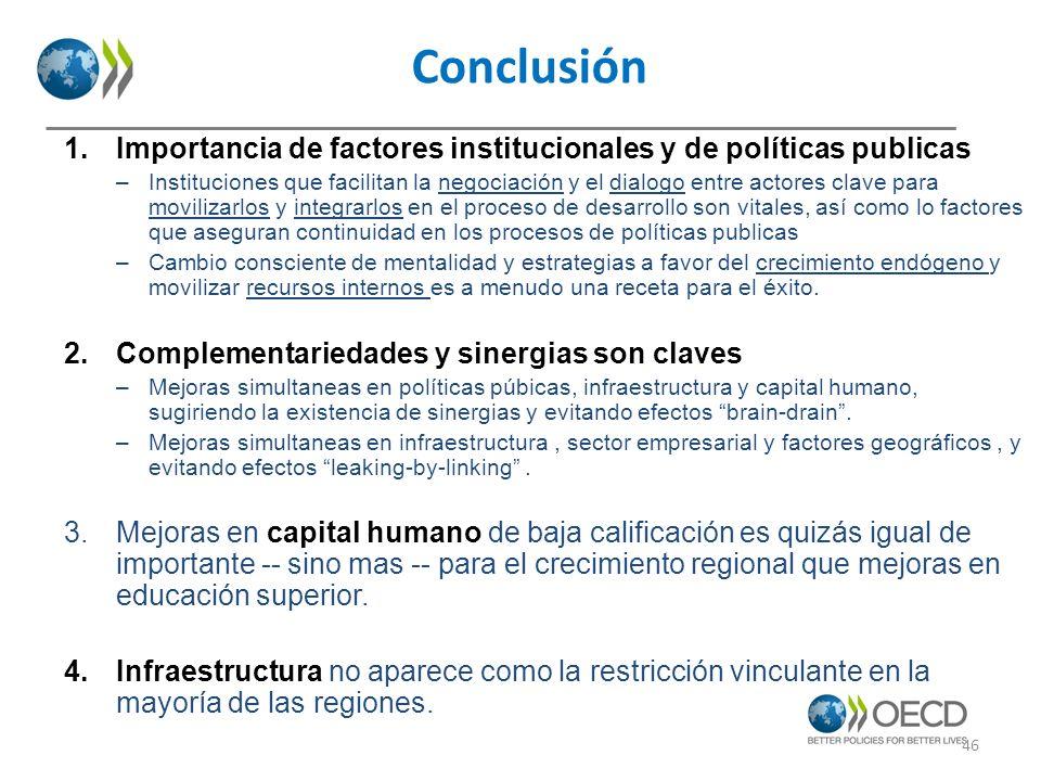 Conclusión 1.Importancia de factores institucionales y de políticas publicas –Instituciones que facilitan la negociación y el dialogo entre actores cl