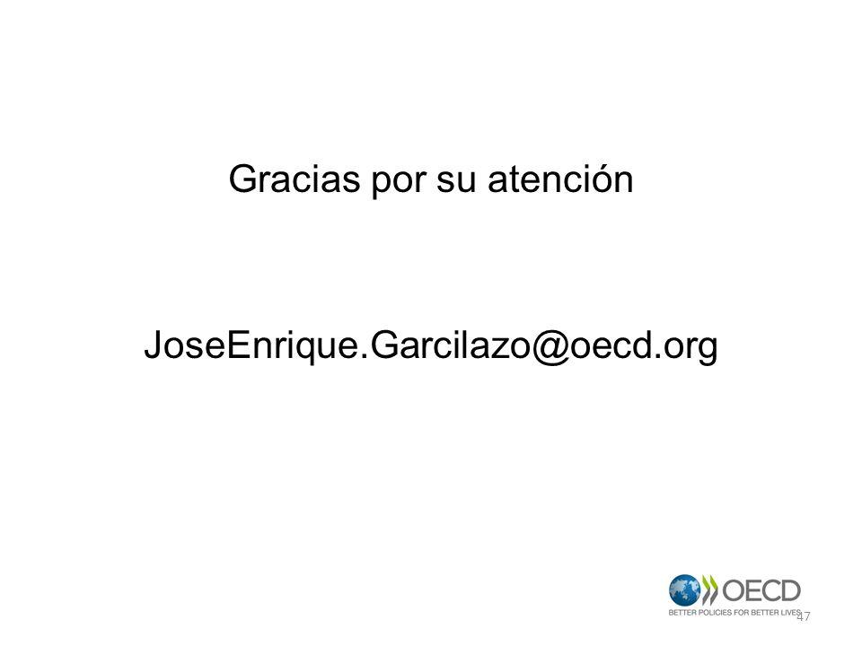 Gracias por su atención JoseEnrique.Garcilazo@oecd.org 47
