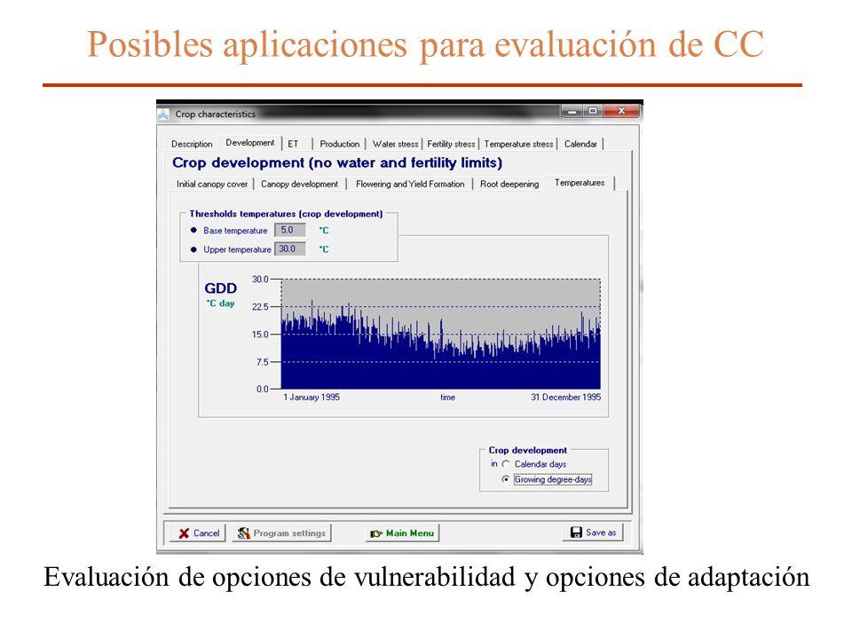 Posibles aplicaciones para evaluación de CC Evaluación de opciones de vulnerabilidad y opciones de adaptación