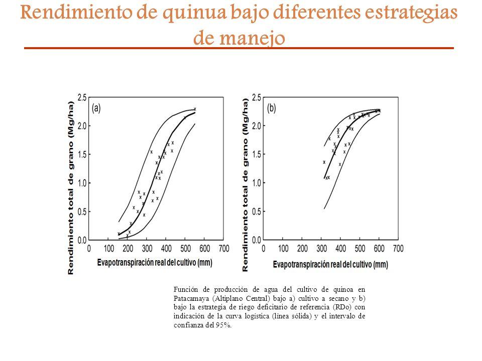 27 Rendimiento de quinua bajo diferentes estrategias de manejo Función de producción de agua del cultivo de quinoa en Patacamaya (Altiplano Central) b