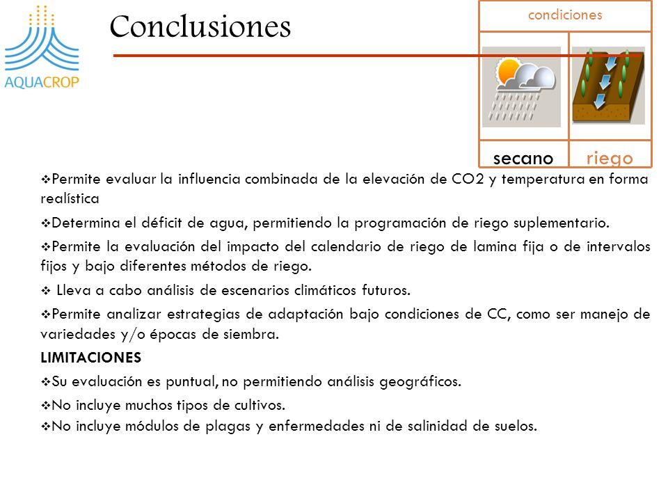 28 Permite evaluar la influencia combinada de la elevación de CO2 y temperatura en forma realística Determina el déficit de agua, permitiendo la progr