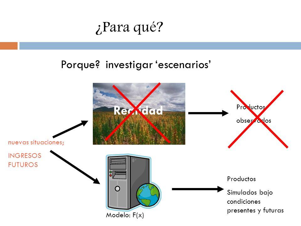 Porque? investigar escenarios Realidad Modelo: F(x) nuevas situaciones; INGRESOS FUTUROS Productos observados Productos Simulados bajo condiciones pre