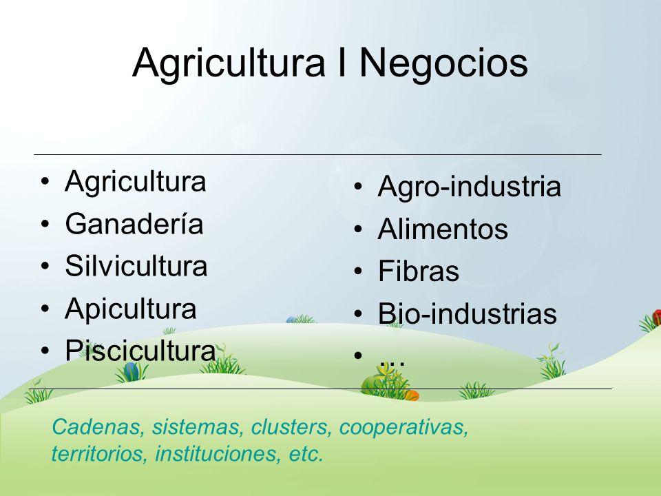 Agricultura I Negocios Agricultura Ganadería Silvicultura Apicultura Piscicultura Agro-industria Alimentos Fibras Bio-industrias … Cadenas, sistemas,