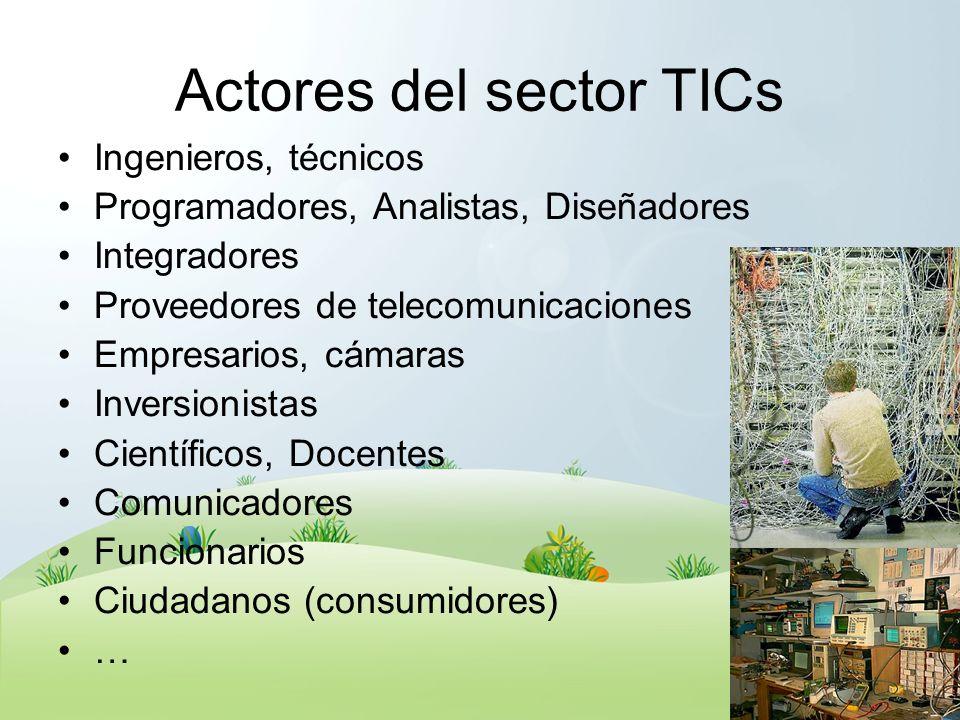 Actores del sector TICs Ingenieros, técnicos Programadores, Analistas, Diseñadores Integradores Proveedores de telecomunicaciones Empresarios, cámaras
