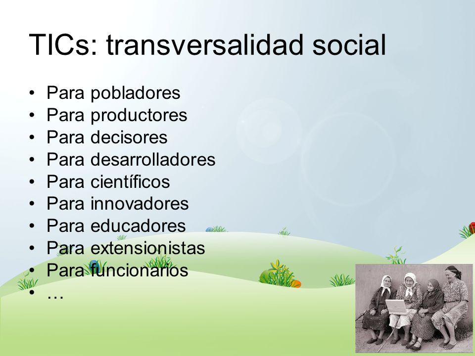 TICs: transversalidad social Para pobladores Para productores Para decisores Para desarrolladores Para científicos Para innovadores Para educadores Pa