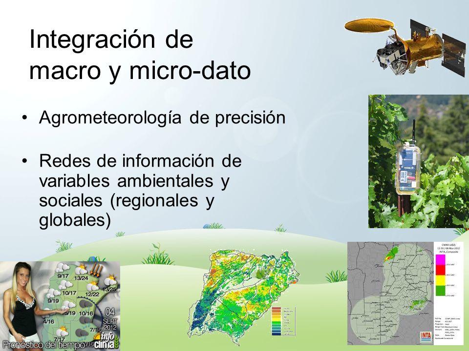 Integración de macro y micro-dato Agrometeorología de precisión Redes de información de variables ambientales y sociales (regionales y globales)