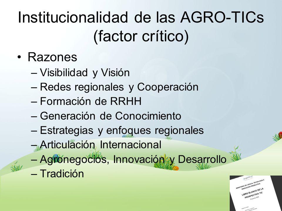 Institucionalidad de las AGRO-TICs (factor crítico) Razones –Visibilidad y Visión –Redes regionales y Cooperación –Formación de RRHH –Generación de Co