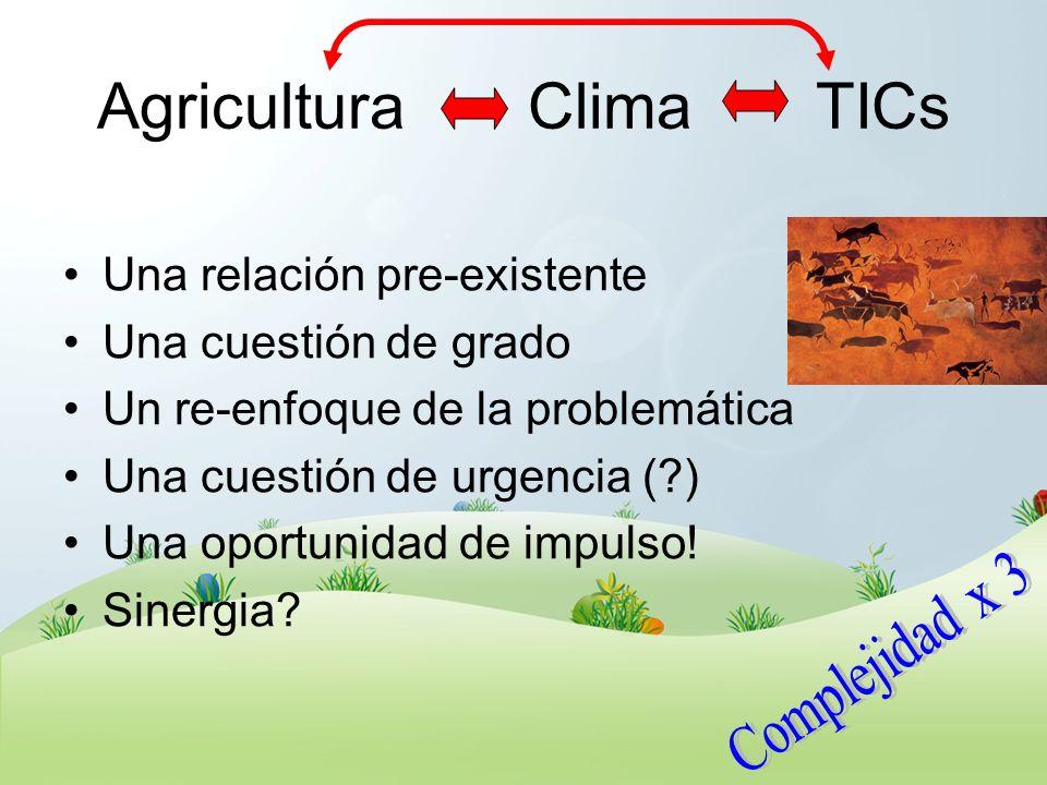 Agricultura Clima TICs Una relación pre-existente Una cuestión de grado Un re-enfoque de la problemática Una cuestión de urgencia (?) Una oportunidad