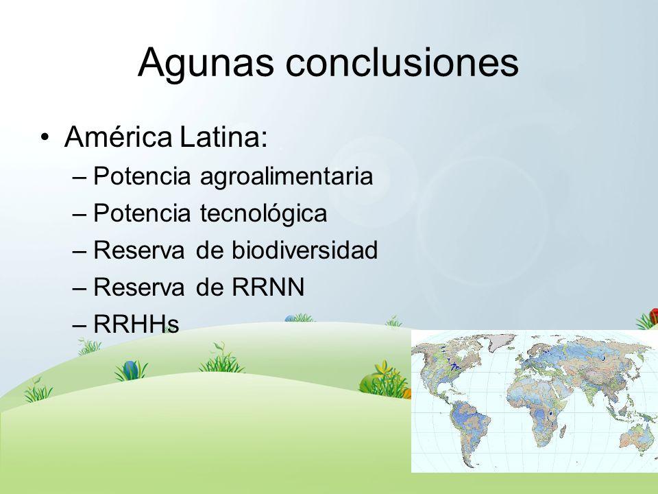 Agunas conclusiones América Latina: –Potencia agroalimentaria –Potencia tecnológica –Reserva de biodiversidad –Reserva de RRNN –RRHHs