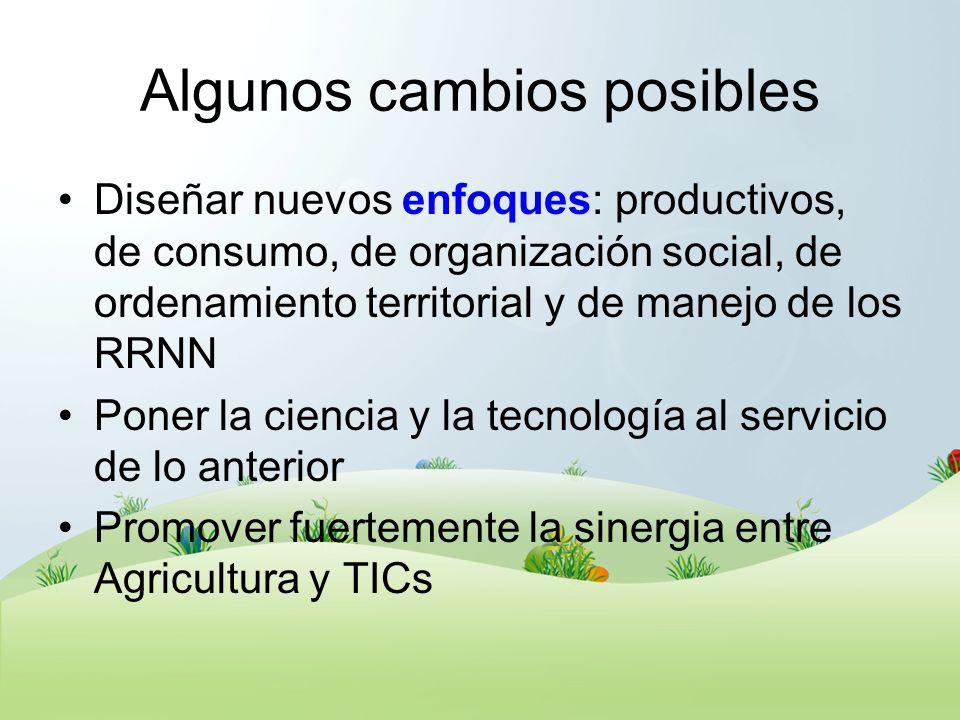 Algunos cambios posibles Diseñar nuevos enfoques: productivos, de consumo, de organización social, de ordenamiento territorial y de manejo de los RRNN