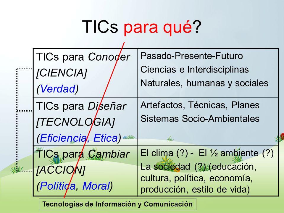 TICs para qué? TICs para Conocer [CIENCIA] (Verdad) Pasado-Presente-Futuro Ciencias e Interdisciplinas Naturales, humanas y sociales TICs para Diseñar