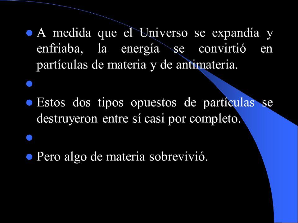 A medida que el Universo se expandía y enfriaba, la energía se convirtió en partículas de materia y de antimateria. Estos dos tipos opuestos de partíc