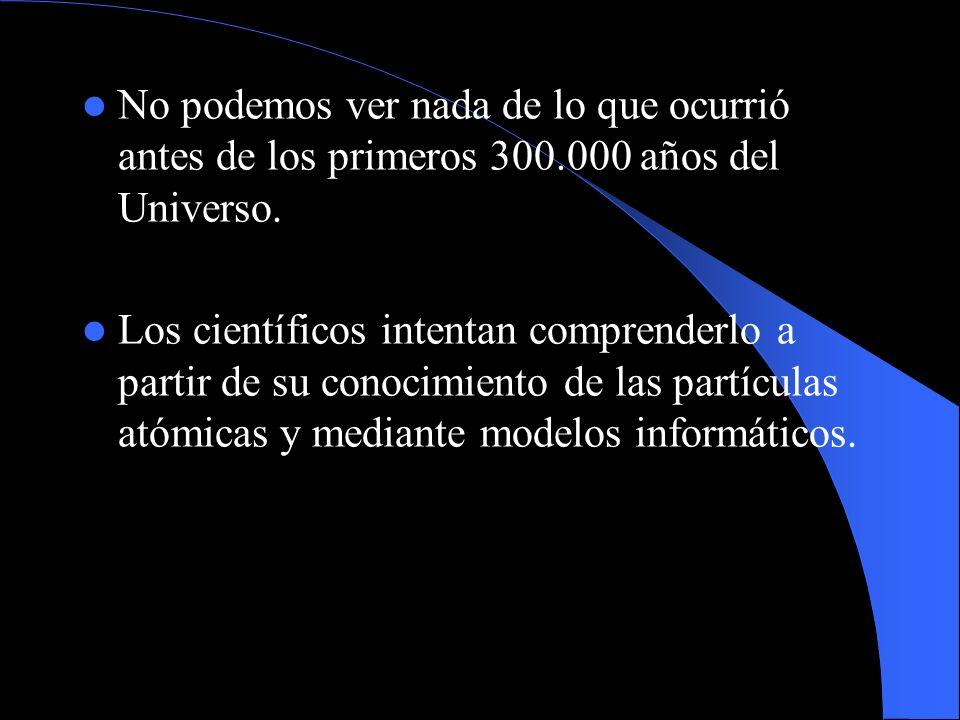 No podemos ver nada de lo que ocurrió antes de los primeros 300.000 años del Universo. Los científicos intentan comprenderlo a partir de su conocimien