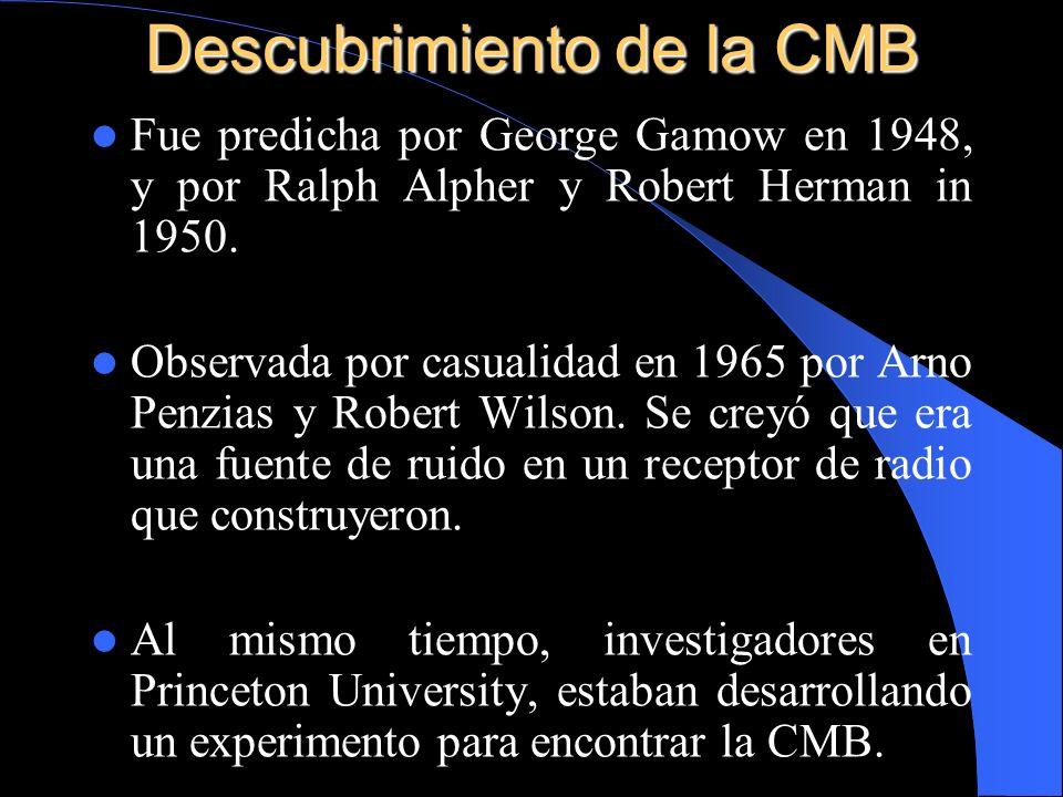 Descubrimiento de la CMB Fue predicha por George Gamow en 1948, y por Ralph Alpher y Robert Herman in 1950. Observada por casualidad en 1965 por Arno