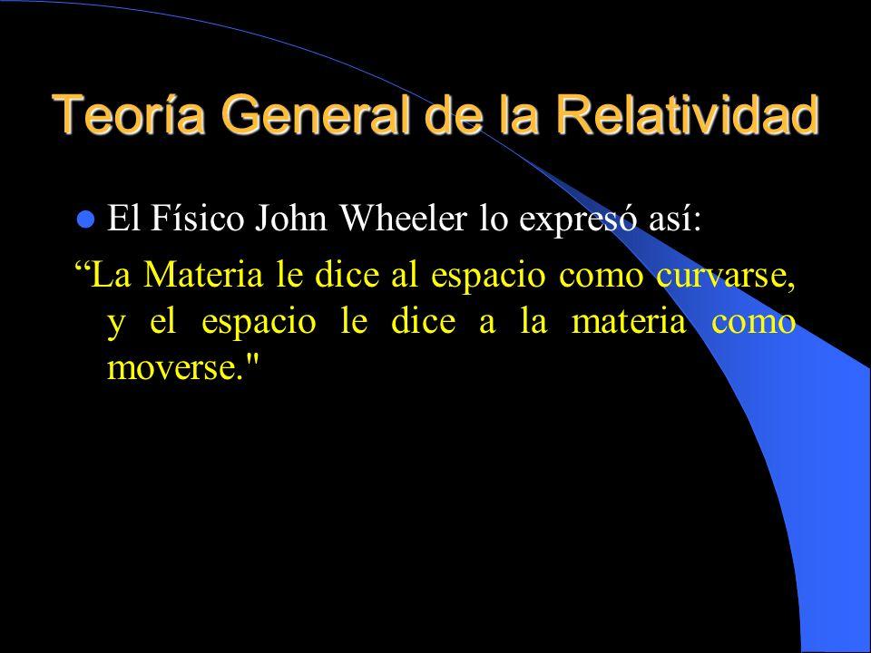Teoría General de la Relatividad El Físico John Wheeler lo expresó así: La Materia le dice al espacio como curvarse, y el espacio le dice a la materia