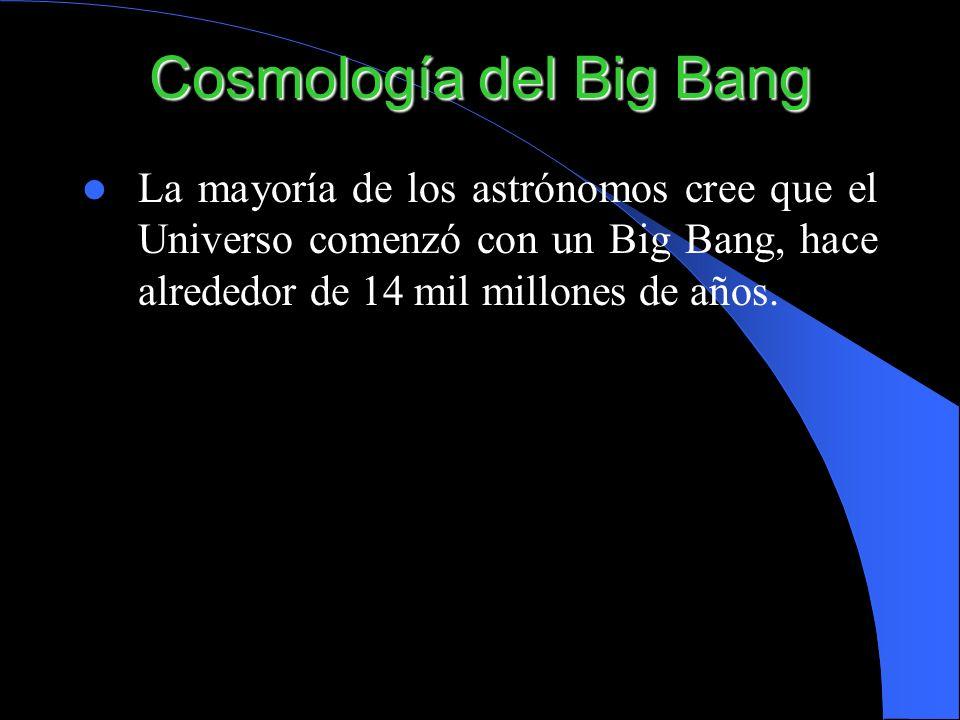 Cosmología del Big Bang La mayoría de los astrónomos cree que el Universo comenzó con un Big Bang, hace alrededor de 14 mil millones de años.