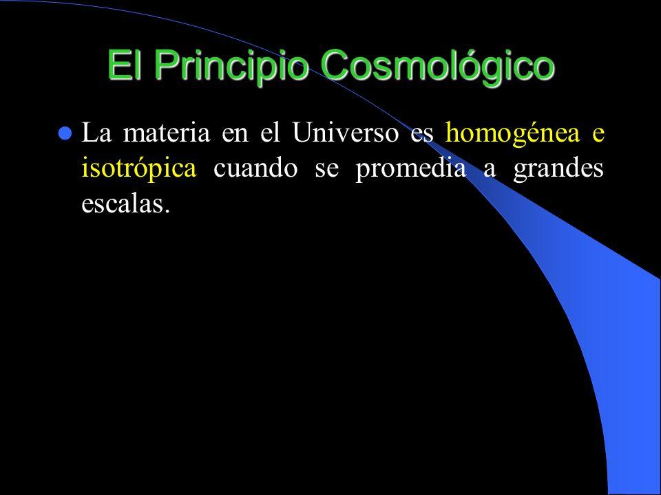 El Principio Cosmológico La materia en el Universo es homogénea e isotrópica cuando se promedia a grandes escalas.