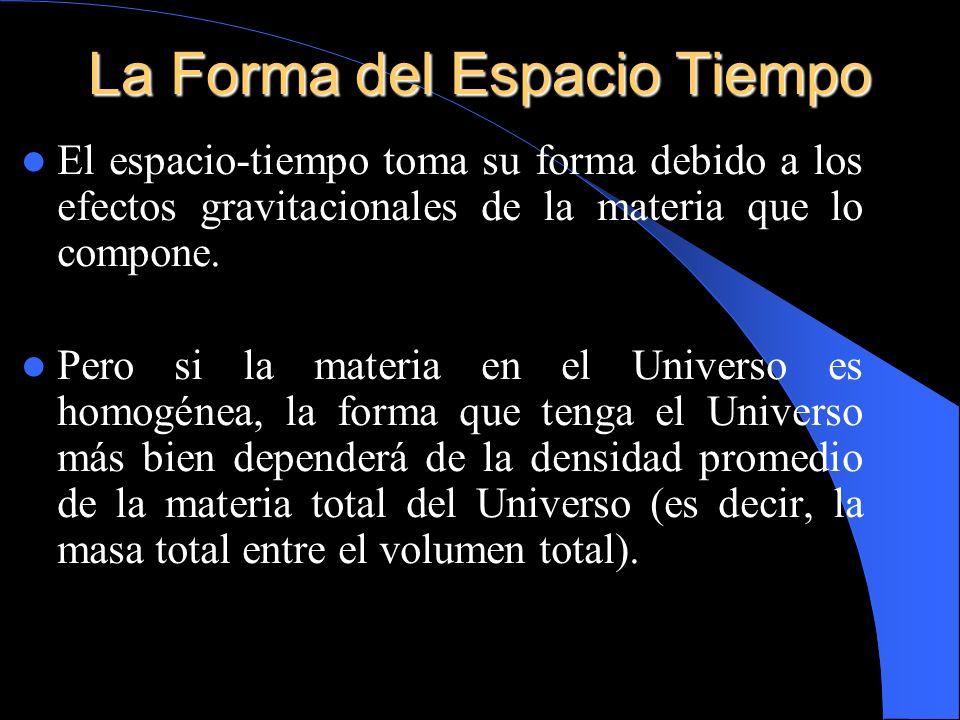 El espacio-tiempo toma su forma debido a los efectos gravitacionales de la materia que lo compone. Pero si la materia en el Universo es homogénea, la