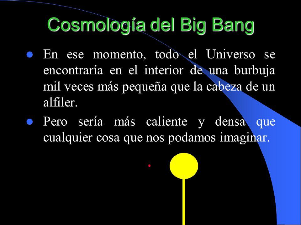 Cosmología del Big Bang En ese momento, todo el Universo se encontraría en el interior de una burbuja mil veces más pequeña que la cabeza de un alfile