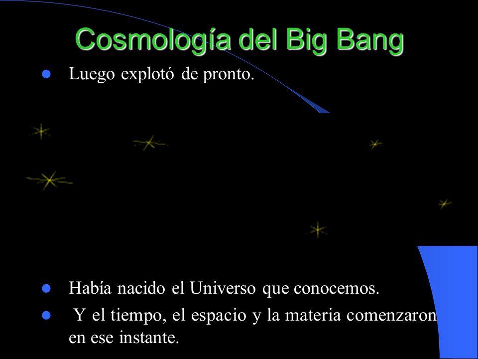 Cosmología del Big Bang Luego explotó de pronto. Había nacido el Universo que conocemos. Y el tiempo, el espacio y la materia comenzaron en ese instan