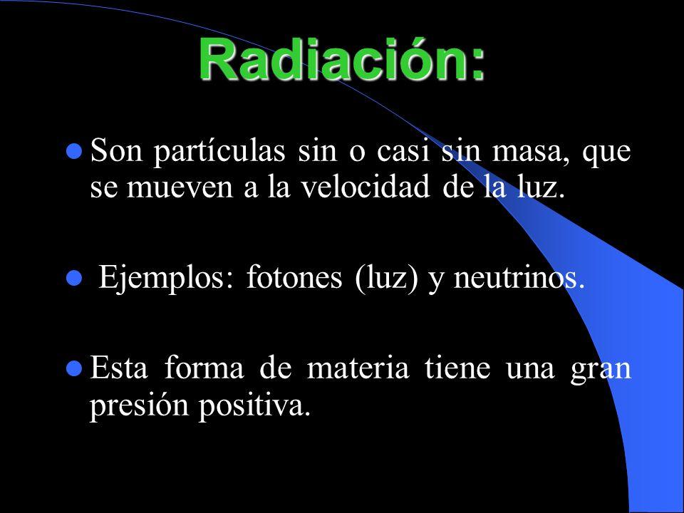 Son partículas sin o casi sin masa, que se mueven a la velocidad de la luz. Ejemplos: fotones (luz) y neutrinos. Esta forma de materia tiene una gran