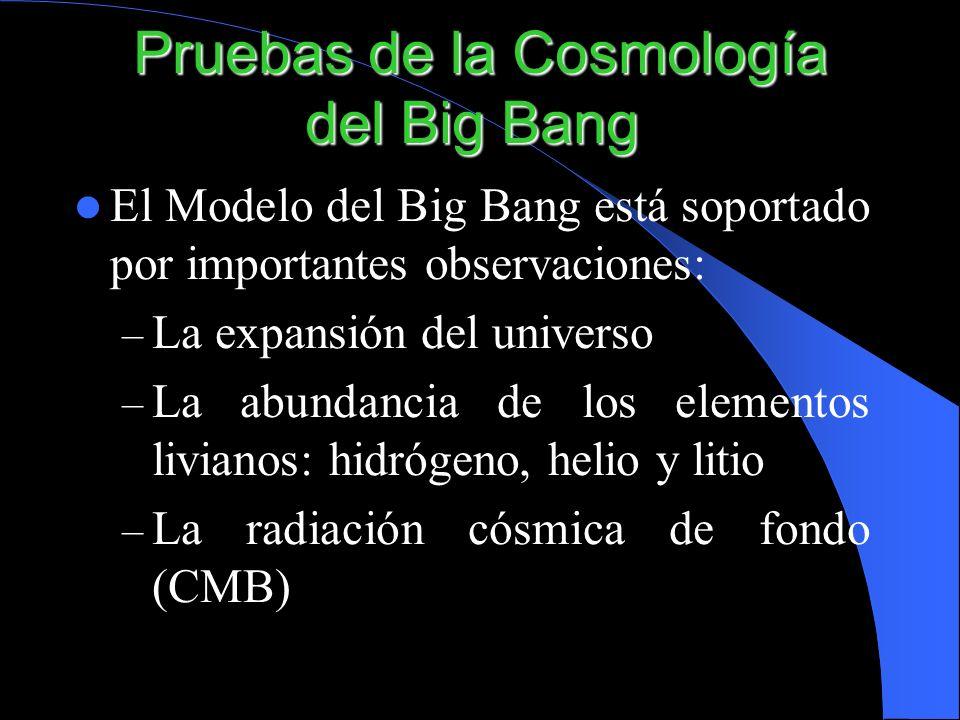Pruebas de la Cosmología del Big Bang Pruebas de la Cosmología del Big Bang El Modelo del Big Bang está soportado por importantes observaciones: – La