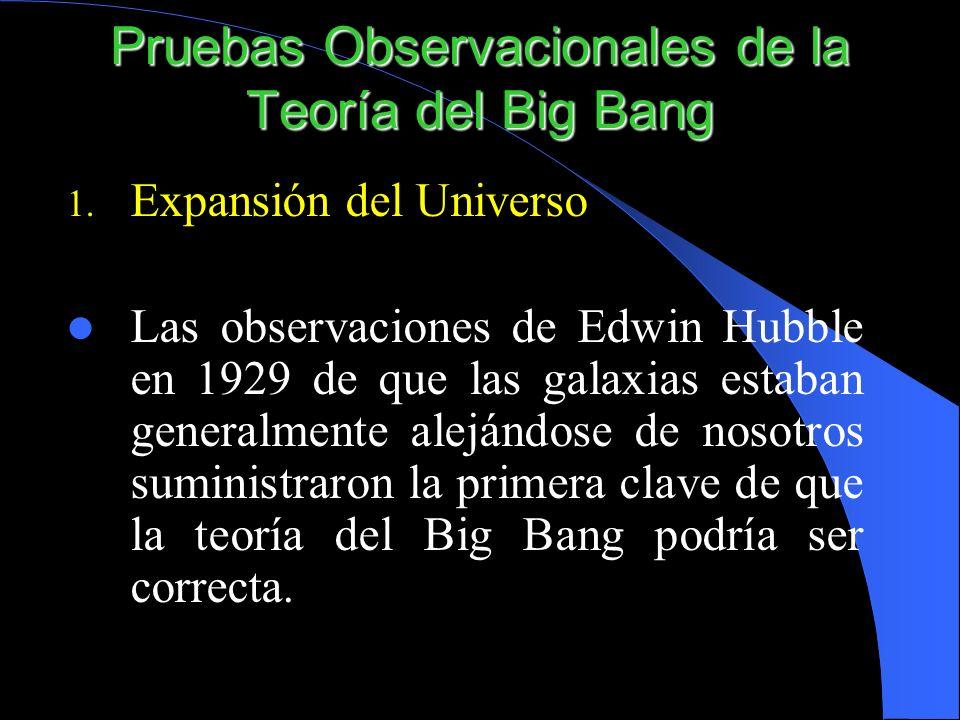 1. Expansión del Universo Las observaciones de Edwin Hubble en 1929 de que las galaxias estaban generalmente alejándose de nosotros suministraron la p