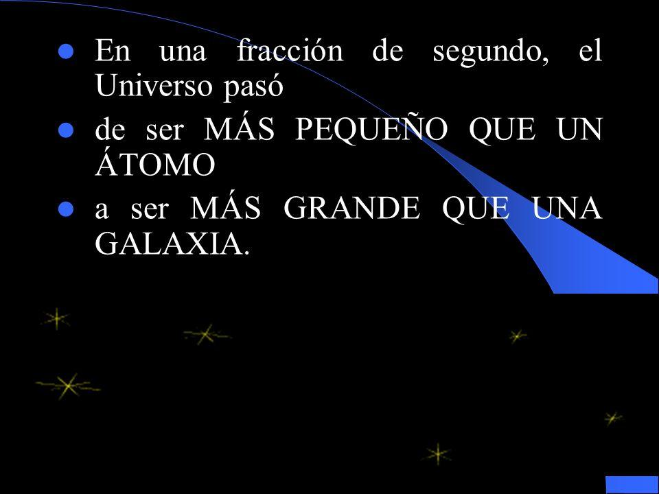En una fracción de segundo, el Universo pasó de ser MÁS PEQUEÑO QUE UN ÁTOMO a ser MÁS GRANDE QUE UNA GALAXIA.
