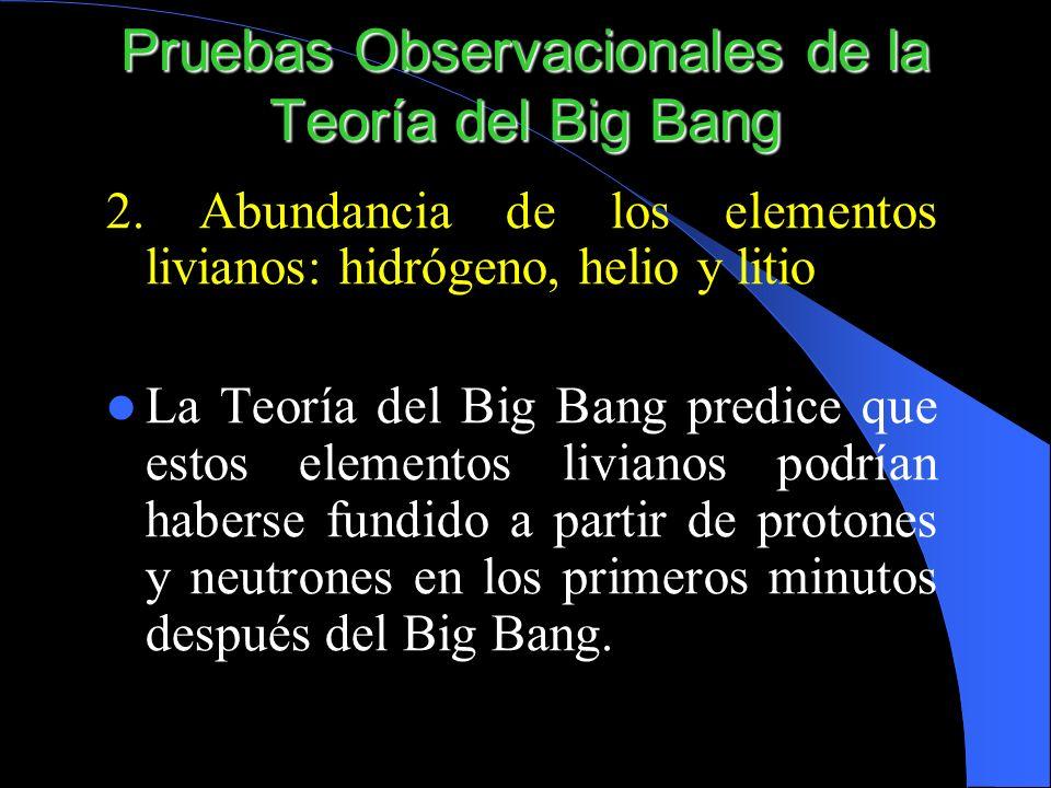 2. Abundancia de los elementos livianos: hidrógeno, helio y litio La Teoría del Big Bang predice que estos elementos livianos podrían haberse fundido