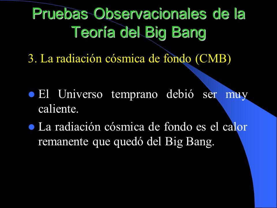 3. La radiación cósmica de fondo (CMB) El Universo temprano debió ser muy caliente. La radiación cósmica de fondo es el calor remanente que quedó del