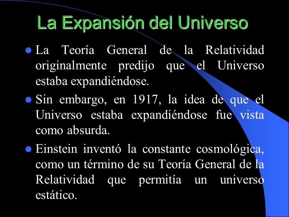 La Expansión del Universo La Teoría General de la Relatividad originalmente predijo que el Universo estaba expandiéndose. Sin embargo, en 1917, la ide