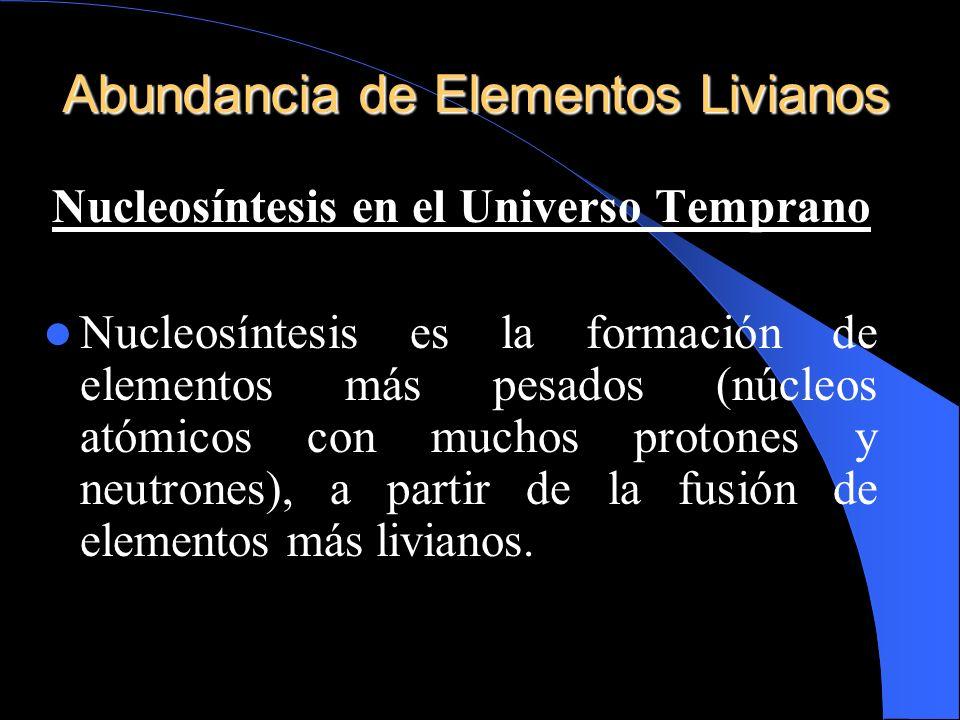 Abundancia de Elementos Livianos Nucleosíntesis en el Universo Temprano Nucleosíntesis es la formación de elementos más pesados (núcleos atómicos con