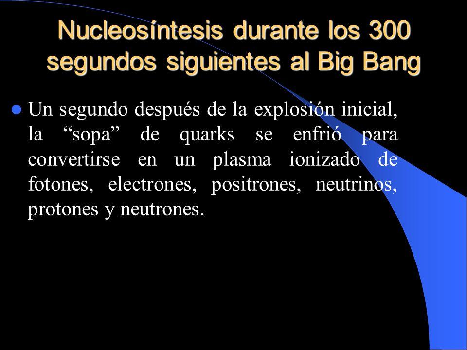 Nucleosíntesis durante los 300 segundos siguientes al Big Bang Un segundo después de la explosión inicial, la sopa de quarks se enfrió para convertirs