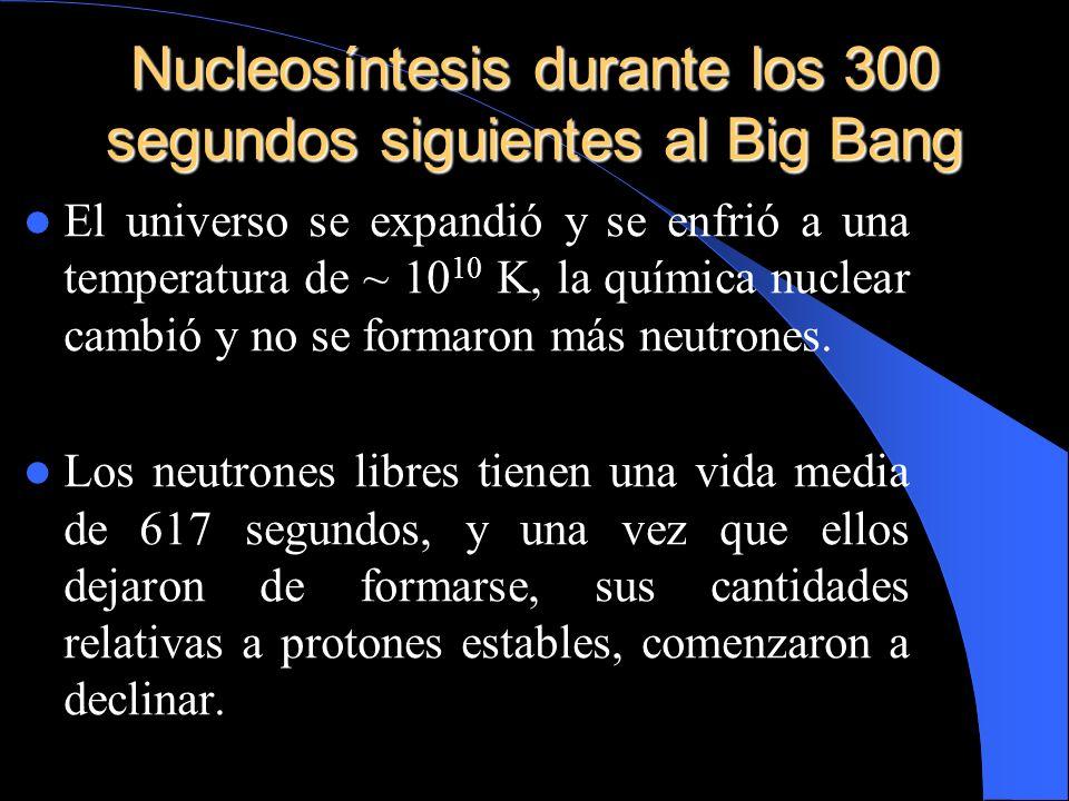 Nucleosíntesis durante los 300 segundos siguientes al Big Bang El universo se expandió y se enfrió a una temperatura de ~ 10 10 K, la química nuclear