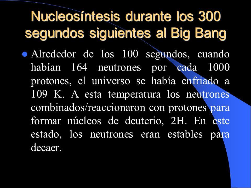 Nucleosíntesis durante los 300 segundos siguientes al Big Bang Alrededor de los 100 segundos, cuando habían 164 neutrones por cada 1000 protones, el u