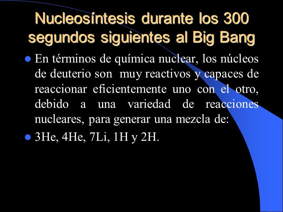Nucleosíntesis durante los 300 segundos siguientes al Big Bang En términos de química nuclear, los núcleos de deuterio son muy reactivos y capaces de