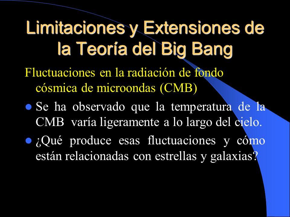 Limitaciones y Extensiones de la Teoría del Big Bang Fluctuaciones en la radiación de fondo cósmica de microondas (CMB) Se ha observado que la tempera