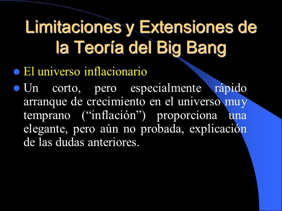 El universo inflacionario Un corto, pero especialmente rápido arranque de crecimiento en el universo muy temprano (inflación) proporciona una elegante