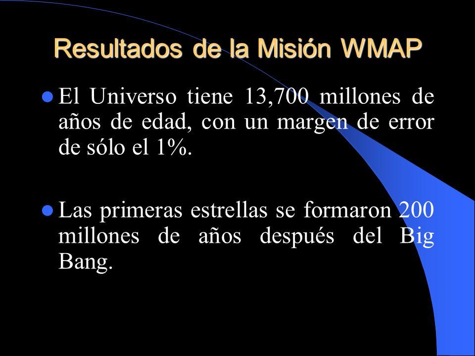 Resultados de la Misión WMAP El Universo tiene 13,700 millones de años de edad, con un margen de error de sólo el 1%. Las primeras estrellas se formar