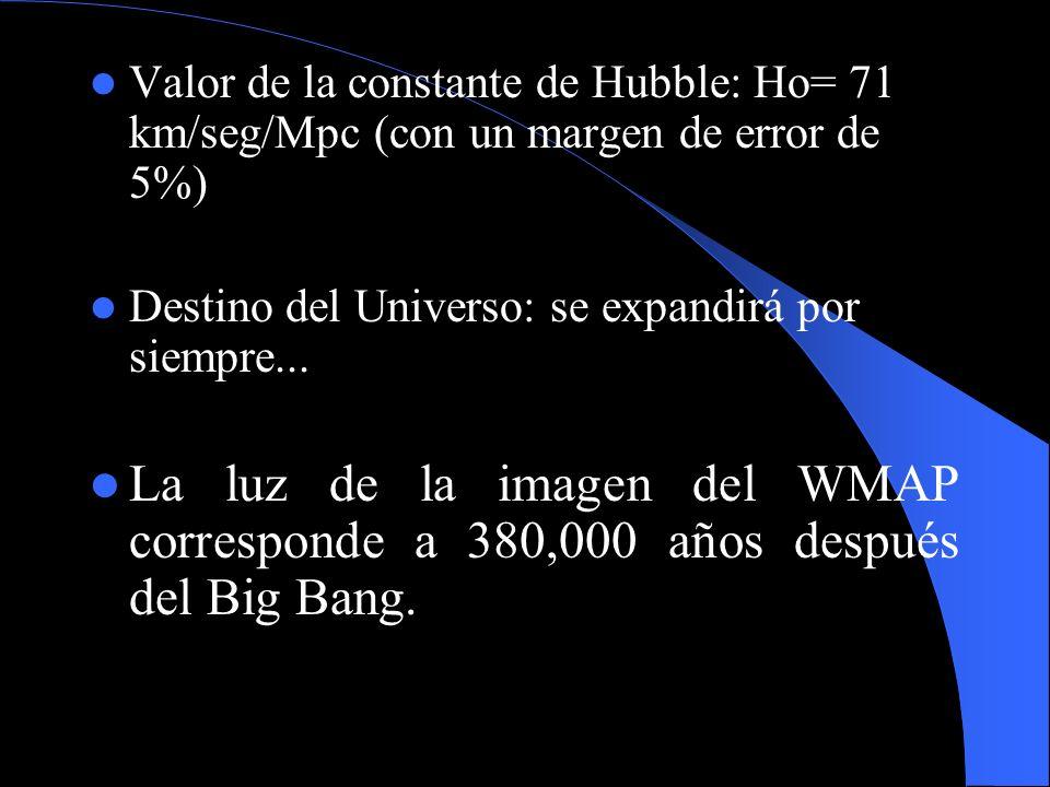 Valor de la constante de Hubble: Ho= 71 km/seg/Mpc (con un margen de error de 5%) Destino del Universo: se expandirá por siempre... La luz de la image
