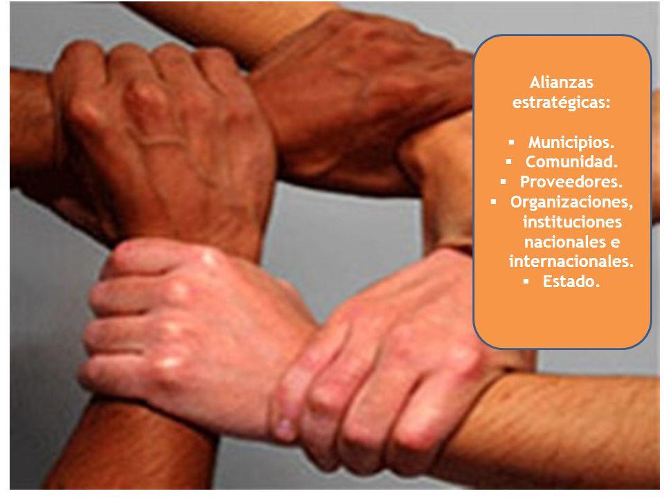 Alianzas estratégicas: Municipios. Comunidad. Proveedores.