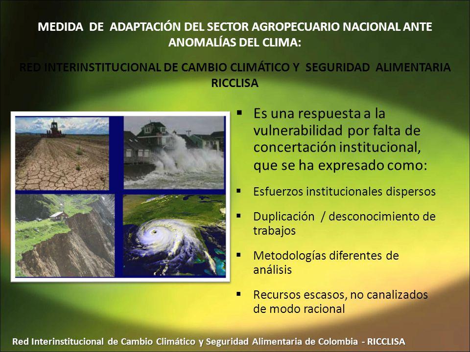 Red Interinstitucional de Cambio Climático y Seguridad Alimentaria de Colombia - RICCLISA Es una respuesta a la vulnerabilidad por falta de concertaci