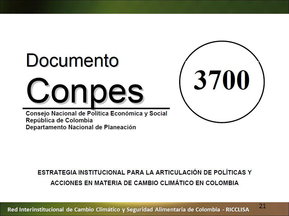 Red Interinstitucional de Cambio Climático y Seguridad Alimentaria de Colombia - RICCLISA 21