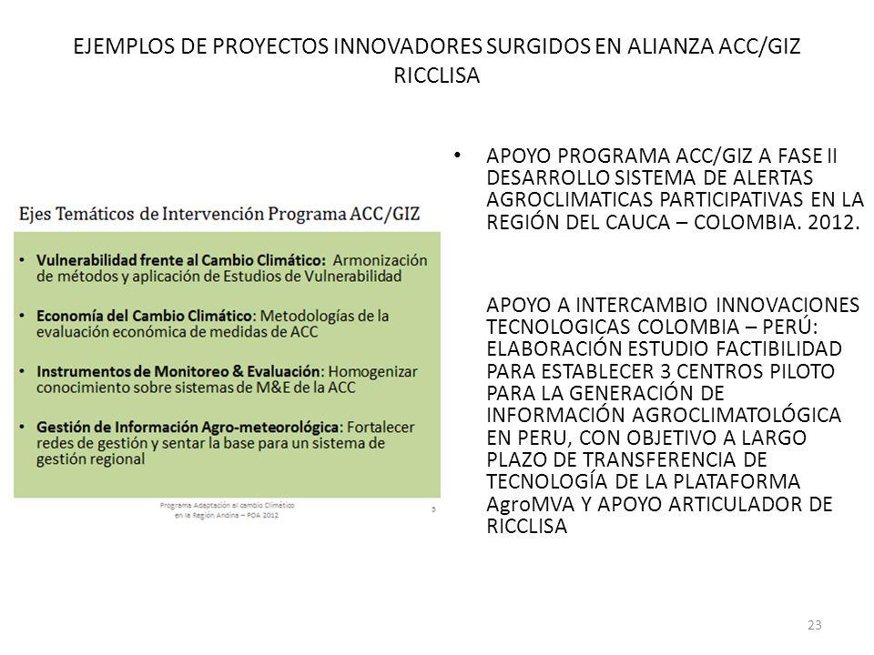 EJEMPLOS DE PROYECTOS INNOVADORES SURGIDOS EN ALIANZA ACC/GIZ RICCLISA APOYO PROGRAMA ACC/GIZ A FASE II DESARROLLO SISTEMA DE ALERTAS AGROCLIMATICAS P
