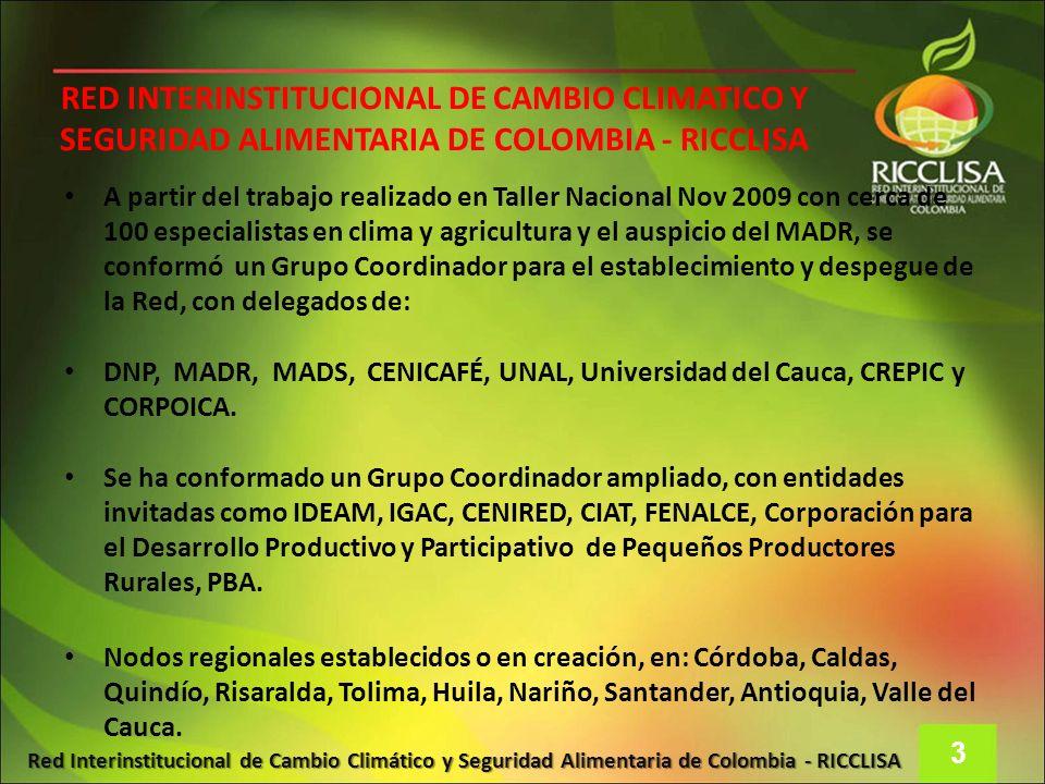 Red Interinstitucional de Cambio Climático y Seguridad Alimentaria de Colombia - RICCLISA RED INTERINSTITUCIONAL DE CAMBIO CLIMATICO Y SEGURIDAD ALIME