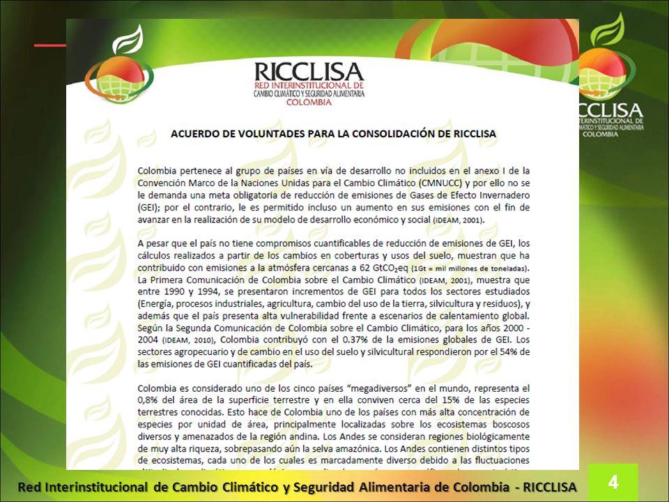 Red Interinstitucional de Cambio Climático y Seguridad Alimentaria de Colombia - RICCLISA 4