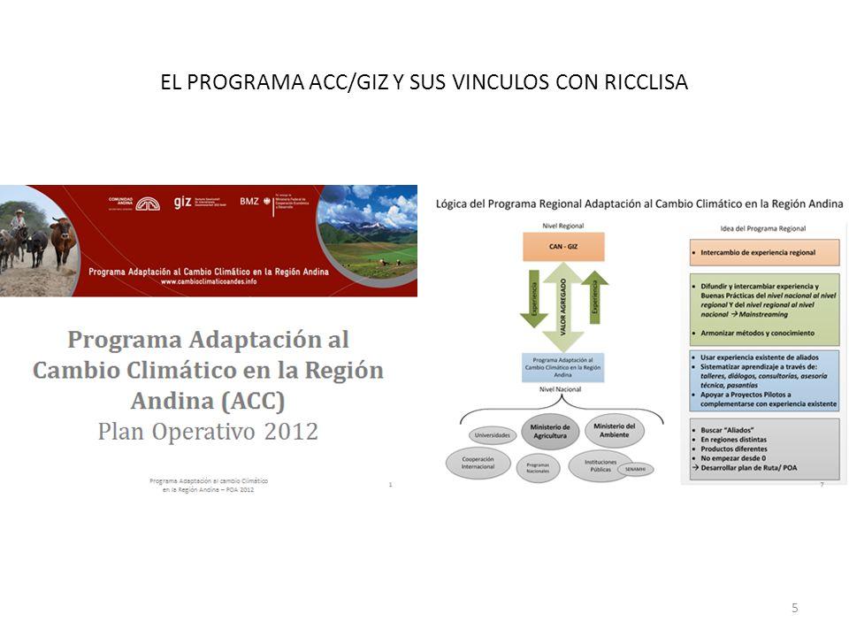 EL PROGRAMA ACC/GIZ Y SUS VINCULOS CON RICCLISA 5