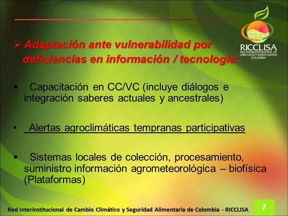 Red Interinstitucional de Cambio Climático y Seguridad Alimentaria de Colombia - RICCLISA Adaptación ante vulnerabilidad por Adaptación ante vulnerabi