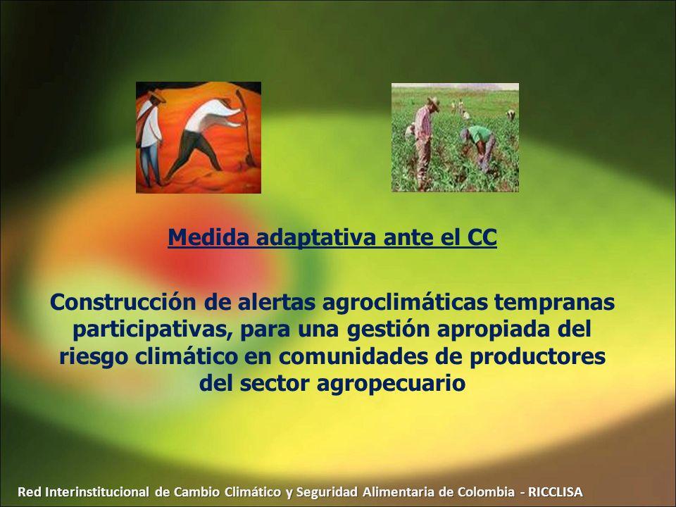 Red Interinstitucional de Cambio Climático y Seguridad Alimentaria de Colombia - RICCLISA Medida adaptativa ante el CC Construcción de alertas agrocli